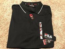 NWT Mens  FILA Performance Golf Polo Shirt Big & Tall Black 3XLT MSRP $48