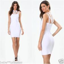 NWT bebe white multi straps cage cutout neck bodycon bandage top dress L large