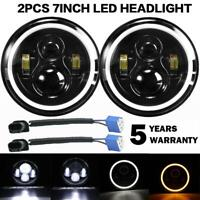 "7""inch Round Led Headlight DRL Amber Turn Signal Halo For Freightliner Century"