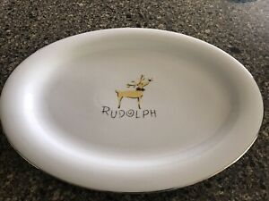 """Pottery Barn Holiday REINDEER Rudolph 16 7/8"""" Oval Serving Platter New"""