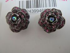 Betsey Johnson hematite pave pink crystal flower stud earrings ,NWT