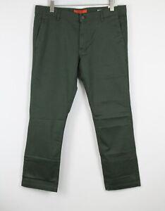 RRP €99 REPLAY TOM M9597 Men W36/L30 Regular Cotton Satin Khaki Trousers 20474*