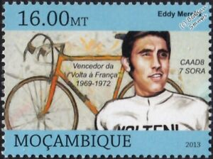 EDDY MERCKX Tour de France Winner Bicycle/Cycling Stamp (2013 Mozambique)