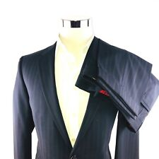 Hugo Boss RED Label Black Stripe Wool 2 Button 2 Vent Suit Flat Cuffed 34x30 40R