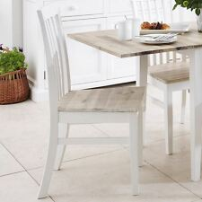 Florence High Back Chair. Kitchen Dining White Wooden Chair With Brushed Acacia