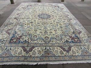 Vintage Hand Made Traditional Oriental Wool White Blue Large Carpet 432x302cm