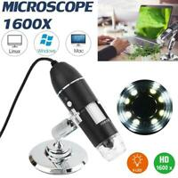 1600X 8 LED Digital Microscope Camera Stand Handheld USB Magnification Endoscope