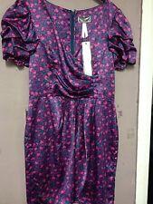 Lipsy Pink/multi Print Satin Mock Wrapover Dress Size 10