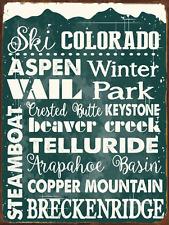 Ski Colorado Green Metal Sign, Sport, Winter, Mountain