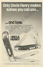 SCHRADE UNCLE HENRY KNIVES Original 1981 Vintage Print Ad; Stockman, Pro-Trapper