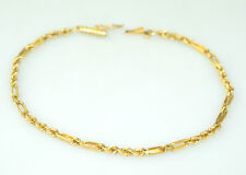 VINTAGE 14K YELLOW GOLD ROPE & LONG LINK NARROW BRACELET 3 GRAMS 7 INCHES LONG