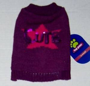 """Purple and pink dog sweater """"CUTE"""" Sz X-Small NWT"""