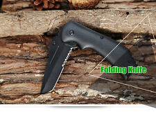Stainless Steel Liner Lock Folding Serrated Hunting Knife Coltello Tasca