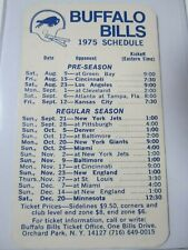 Vintage BUFFALO BILLS 1975 Pocket Football Schedule