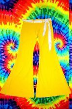 2✪ 70er Jahre Blumenkinder Hippie Mega Schlaghose Boney M Kostüm gelb Gr S - M