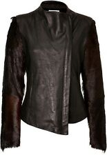 New Helmut Lang Leather And Real Fur Jacket S RRP £1350