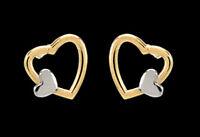 ECHT GOLD 💕 Kleine Ohrstecker Ohrringe Herz Doppelherz bicolor 7 mm