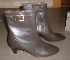 Cole Haan dark brown leather mid heel ankle boots sz 8.5B NIB fantastic deal!
