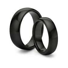 HIS & HERS 8MM/6MM Tungsten Classic Black Comfort Fit Wedding Band TWO RING SET