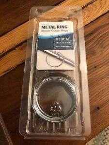 MAYTEX  METAL SHOWER CURTAIN RING SET OF 12 EASY TO INSTALL RUST RESISTANT