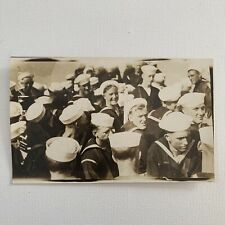 Antique RPPC Real Photograph Postcard Handsome Sailor Party Navy USS Cuyama 1917
