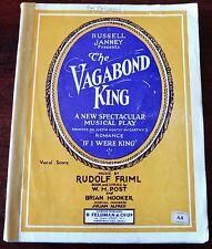 RUDOLF FRIML THE VAGABOND KING VOCAL SCORE SONG BOOK (1970's) ENGLAND