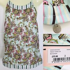 """£55 TED BAKER ❤️ NEW Paisley Stripe 100% Silk Strappy Top size 8 UK / 34"""""""