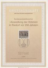 TIMBRE FDC ALLEMAGNE  BERLIN OBL ERSTTAGSBLATT ETABLISSEMENT DES BOHEMIENS  1987