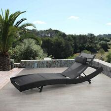 Poly-Ratta Sonnenliege Savannah, Relaxliege, anthrazit, Bezug schwarz