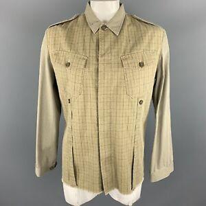GRIFFIN XL Khaki Mixed Fabrics Cotton Hidden Buttons Jacket