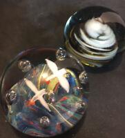 2 Vintage Murano Style Art Glass Paperweights Seagulls Ocean Scene & Swirl EUC