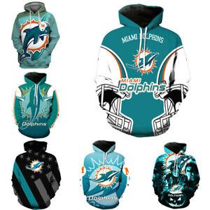 Miami Dolphins Hoodie Football Hooded Sweatshirt Pullover Casual Jacket Coat