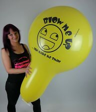 "1 x SMILEY Cattex 32"" XXL-NECK Luftballon * gelb * yellow * looner *"