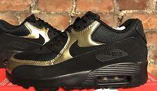 Nike Air Max 90 Mesh UK5.5 EUR38.5 Black Metallic Gold 833418 013 GIRLS KIDS GS