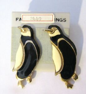 Fashion Earrings- PENGUINS - large- black white gold- post back