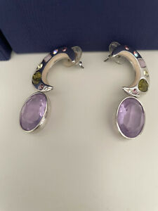 BNIB Genuine Swarovski Swan Amethyst Earrings