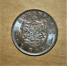 Romania 1 Bani 1900 Brilliant Uncirculated Copper Coin - King Carol I