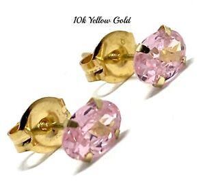 10k Yellow Gold Pink Topaz Stud Earrings 6x4mm Oval Cut Beautifully Dainty