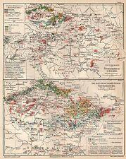 Österreich-Ungarn Industrie Bergbau Hüttenwesen Textilindustrie LANDKARTE  1908