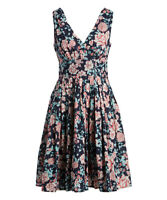 Navy Blue Dress Size 8 Ladies Womens Floral Cotton Sleeveless Fit And Flare