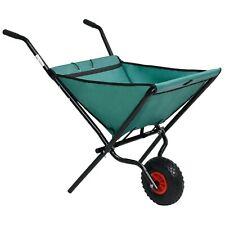 Folding Garden Wheelbarrow with Rubber Tyre Foldable Wheel Barrow Green