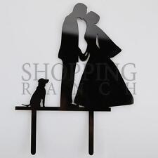 Wedding Cake Bride Groom & Sitting Dog Topper Mr & Mrs Black Acrylic