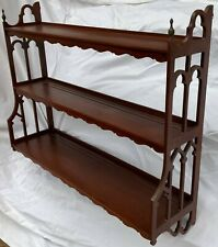 Antique Chippendale Mahogany Wood Graduated 3 Tier Whatnot Wall Shelf Plate