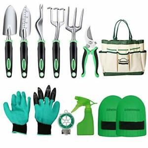 Garden Tool Set, Hand Tool Gift Kit, With Heavy Duty Hold Bag, Green/Black