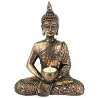 Thai Buddha Statue TeaLight Holder Rustic Art Effect Ornament Classic Home Décor