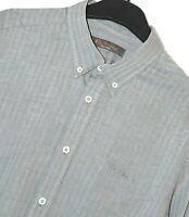 """Ben Sherman Shirt Grey Herringbone Stripe Button Down L/Sleeve S Pit to Pit 20"""""""