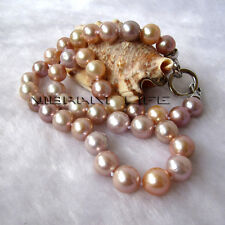 """18"""" 9-11mm Peach Pink Lavender kasumi AA Freshwater Pearl Necklace UE"""