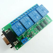 DC 12V 4Ch RS232 Relay Board SCM PC USB UART DB9 Remote Control Switch PLC Motor