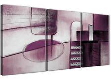 3 PEZZI Grigio Prugna Pittura Cucina Arredamento in Tela-ASTRATTO 3420 - 126cm