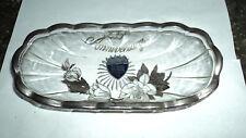 Rockwell Depression glass sterling silver 25 yr Anniversary relish Dish